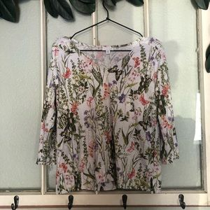 🏔Butterfly floral v-neck 3/4 sleeve shirt